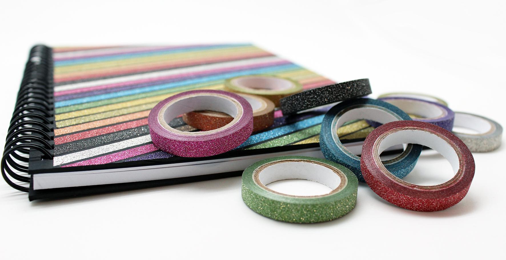Finished X-Press It Glitter Deco Tape Journal